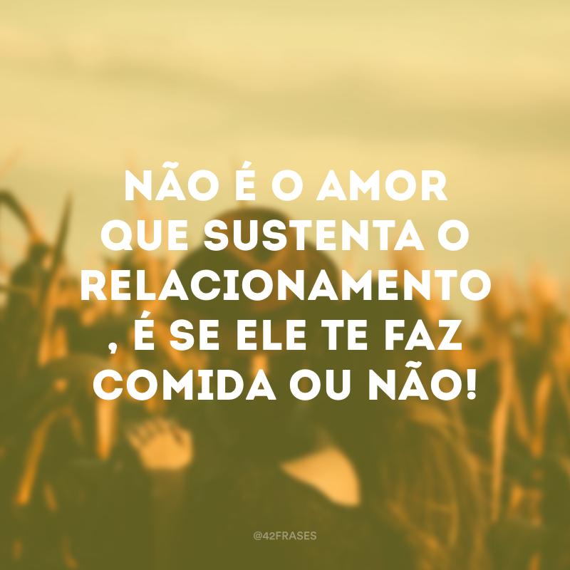 Não é o amor que sustenta o relacionamento, é se ele te faz comida ou não!