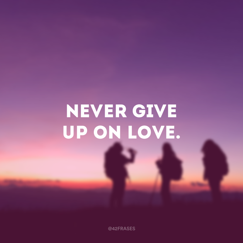Never give up on love. (Nunca desista do amor.)