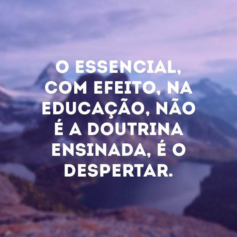 O essencial, com efeito, na educação, não é a doutrina ensinada, é o despertar.