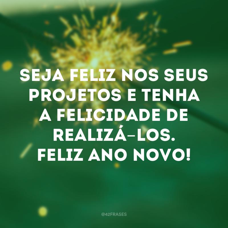 Seja feliz nos seus projetos e tenha a felicidade de realizá-los. Feliz Ano Novo!