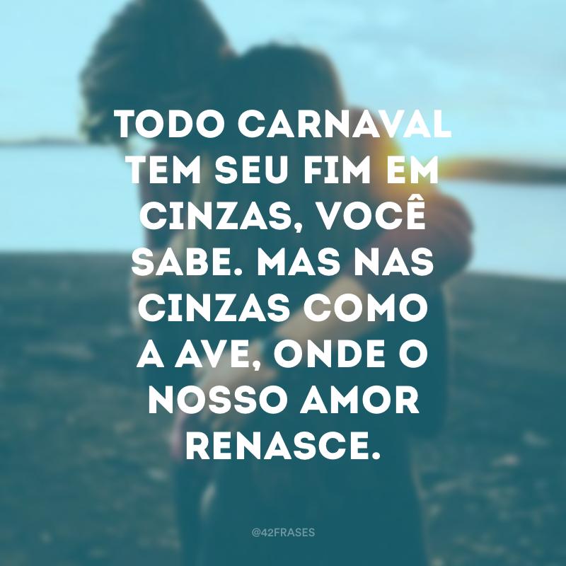 Todo carnaval tem seu fim em cinzas, você sabe. Mas nas cinzas como a ave, onde o nosso amor renasce.