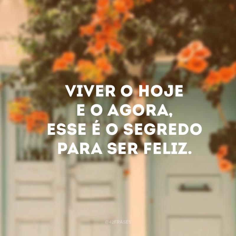 Viver o hoje e o agora, esse é o segredo para ser feliz.