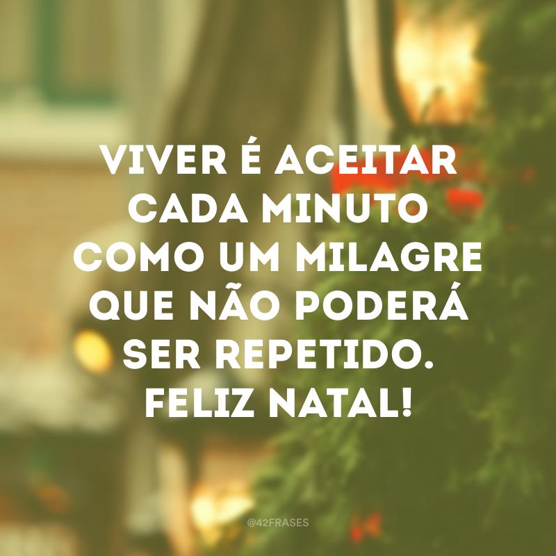 Viver é aceitar cada minuto como um milagre que não poderá ser repetido. Feliz Natal!