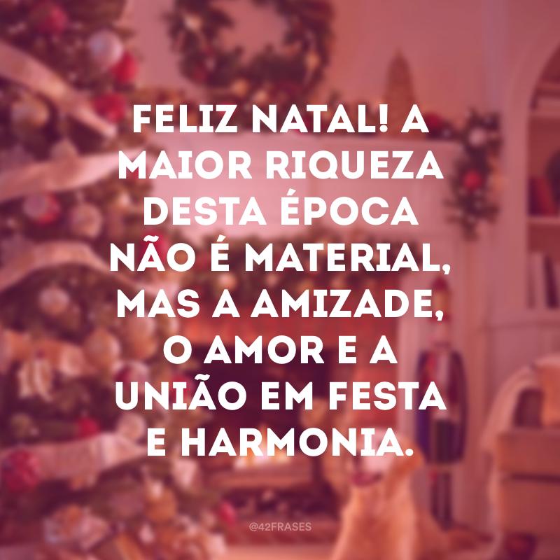Feliz Natal! A maior riqueza desta época não é material, mas a amizade, o amor e a união em festa e harmonia.