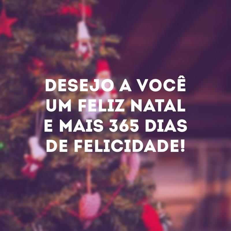 Desejo a você um Feliz Natal e mais 365 dias de felicidade!