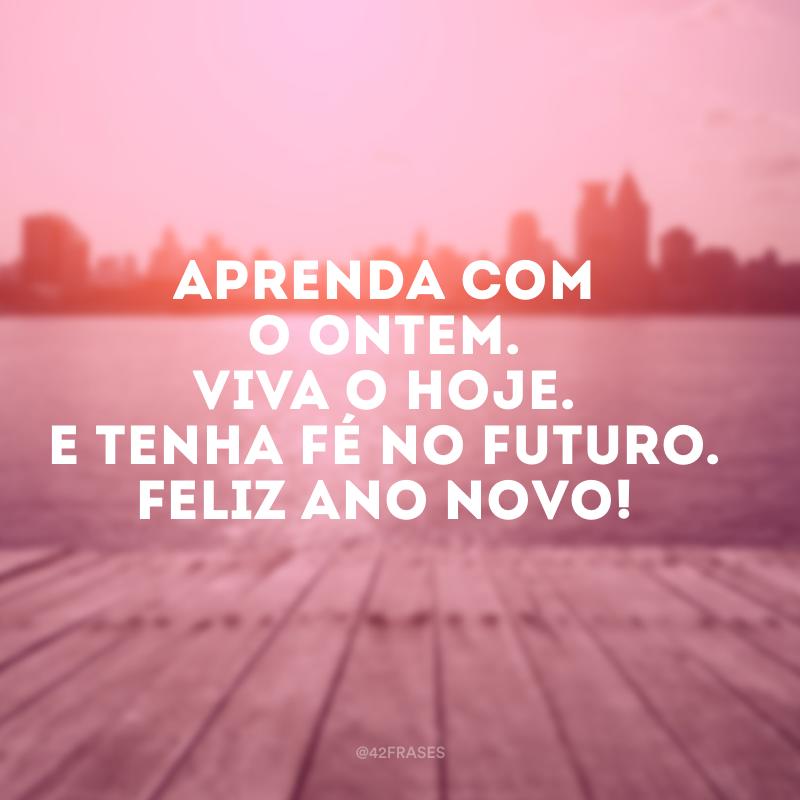 Aprenda com o ontem. Viva o hoje. E tenha fé no futuro. Feliz Ano Novo!