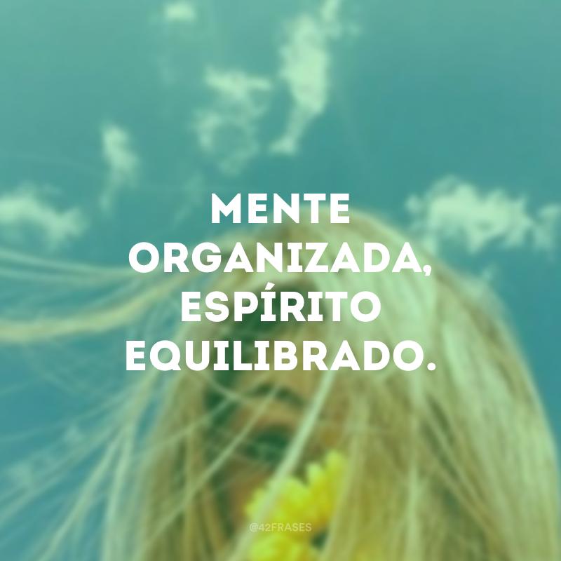 Mente organizada, espírito equilibrado.