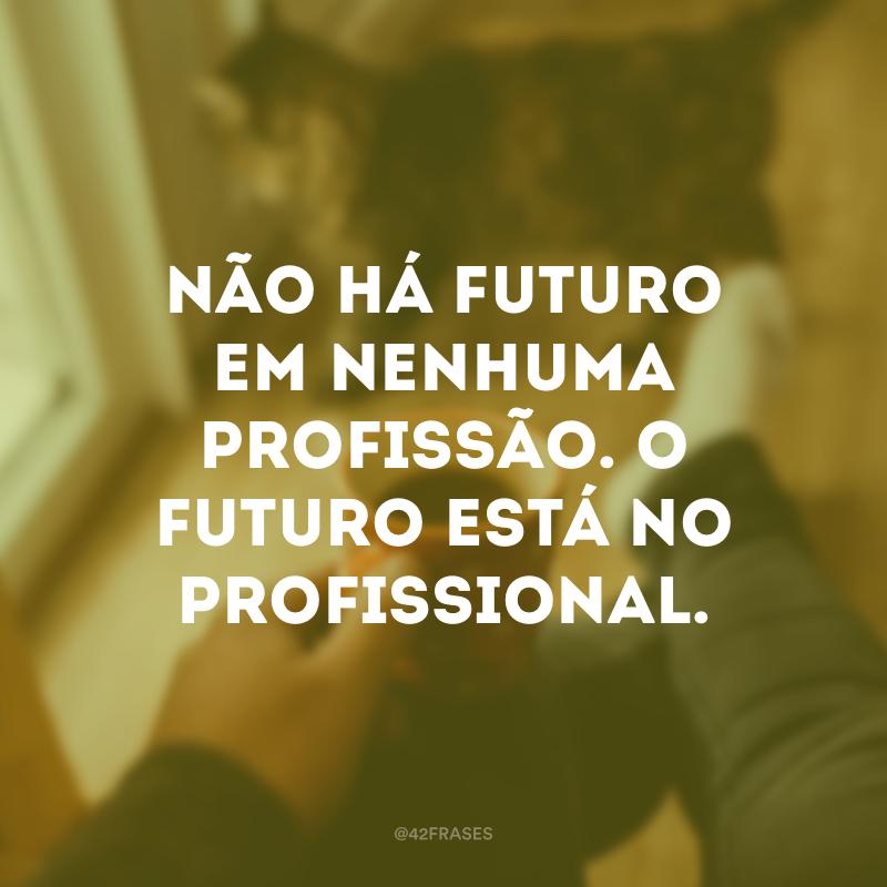 Não há futuro em nenhuma profissão. O futuro está no profissional.