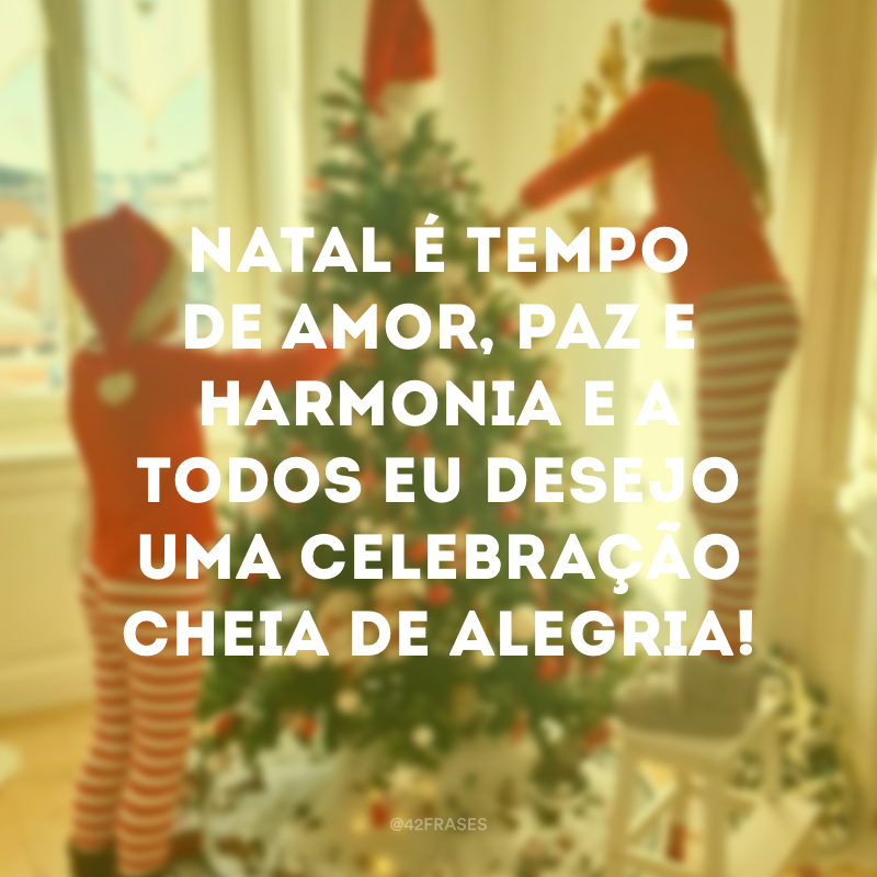 Natal é tempo de amor, paz e harmonia e a todos eu desejo uma celebração cheia de alegria!
