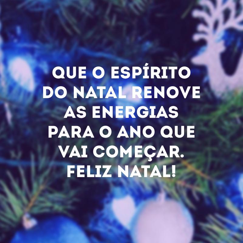 Que o espírito do Natal renove as energias para o ano que vai começar. Feliz Natal!