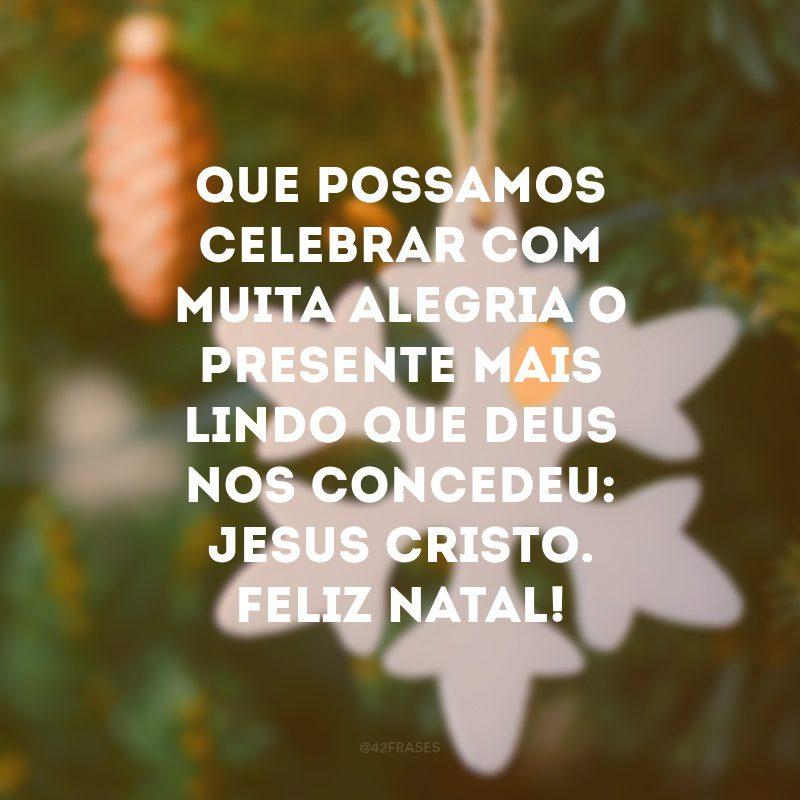Que possamos celebrar com muita alegria o presente mais lindo que Deus nos concedeu: Jesus Cristo. Feliz Natal!