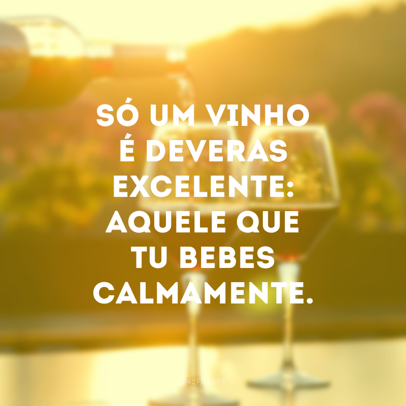 Só um vinho é deveras excelente: aquele que tu bebes calmamente.