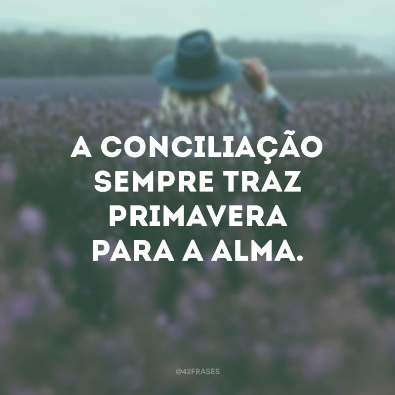 A conciliação sempre traz primavera para a alma.