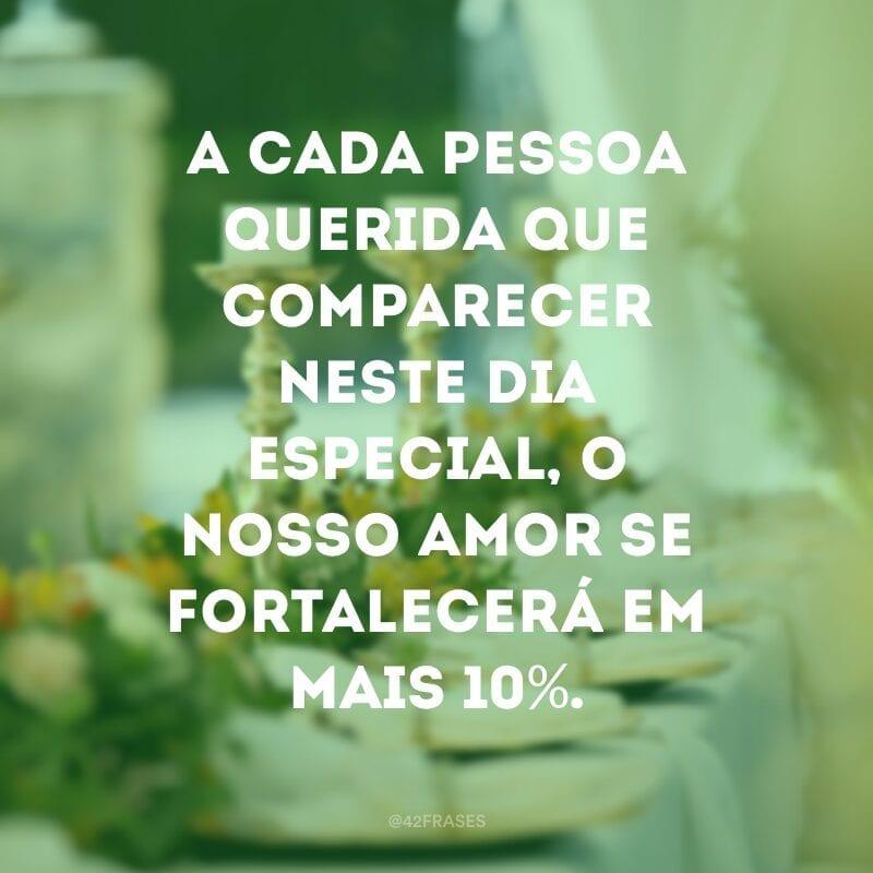 A cada pessoa querida que comparecer neste dia especial, o nosso amor se fortalecerá em mais 10%.