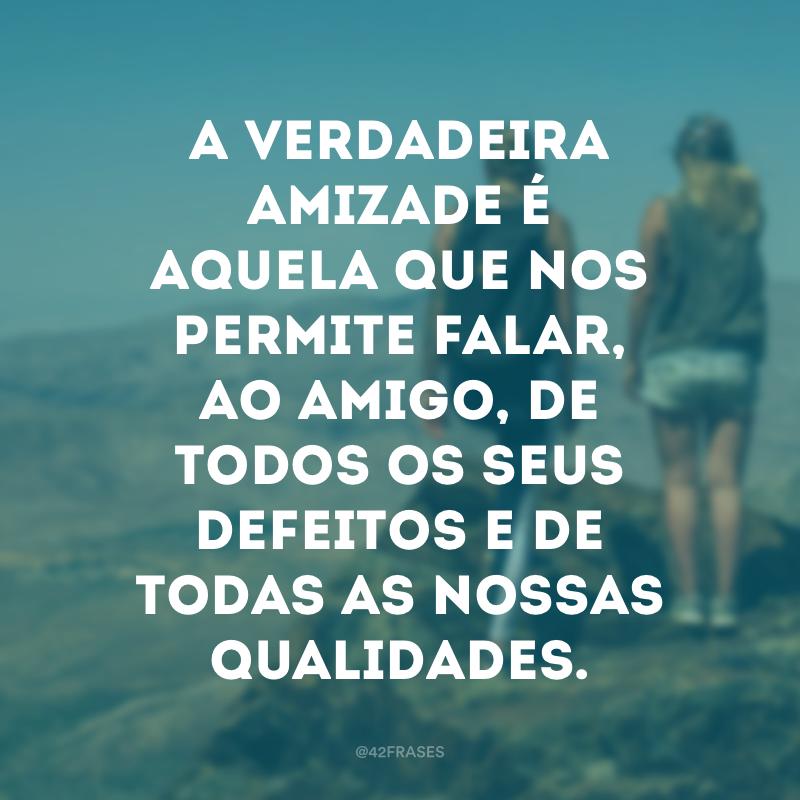 A verdadeira amizade é aquela que nos permite falar, ao amigo, de todos os seus defeitos e de todas as nossas qualidades.