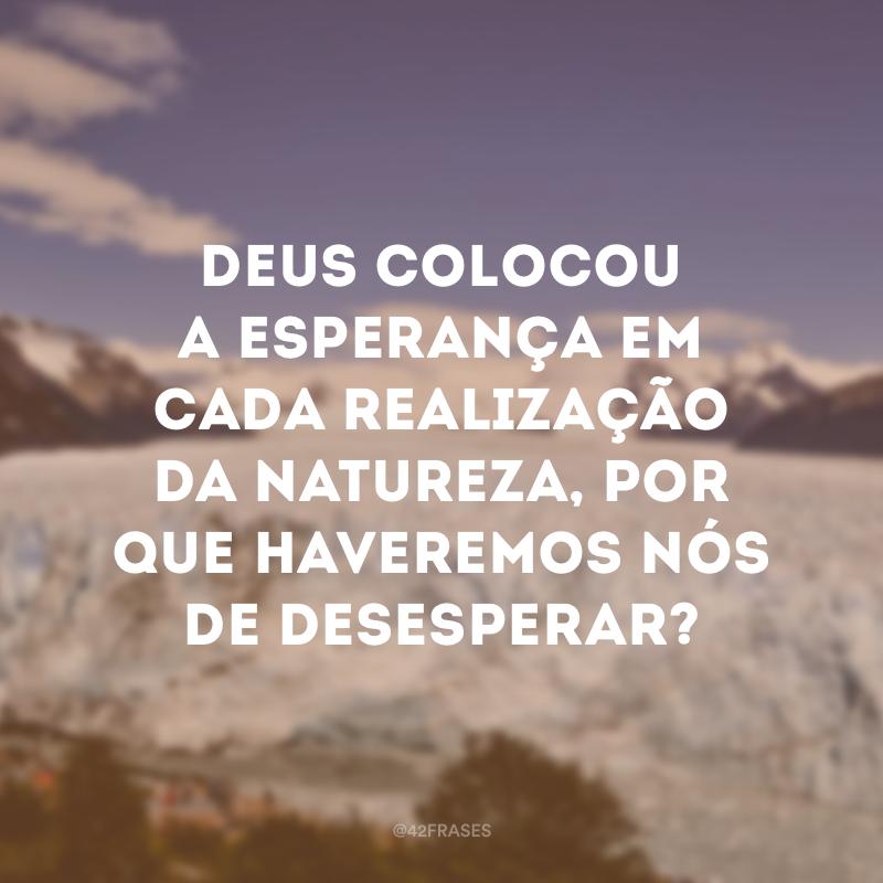 Deus colocou a esperança em cada realização da natureza, por que haveremos nós de desesperar?