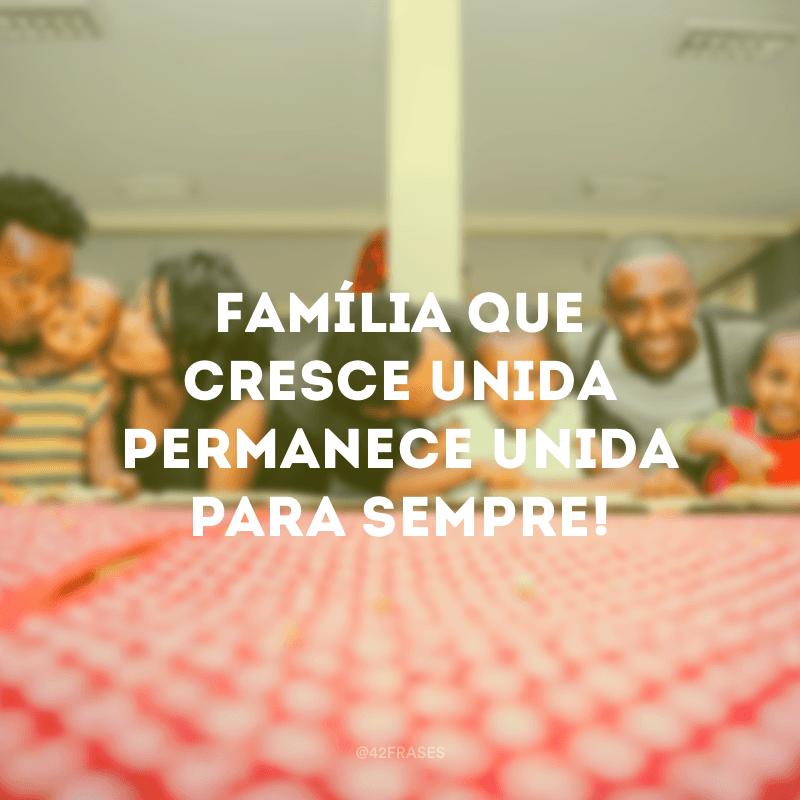 Família que cresce unida permanece unida para sempre!