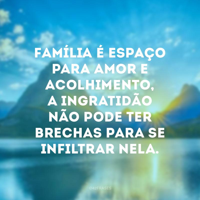 Família é espaço para amor e acolhimento, a ingratidão não pode ter brechas para se infiltrar nela.