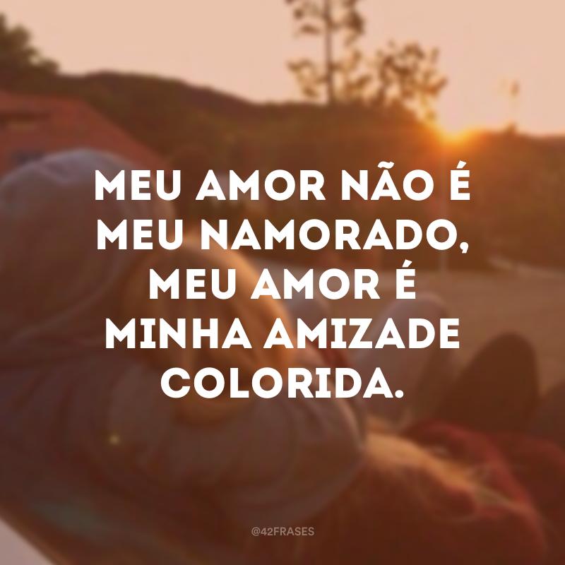 Meu amor não é meu namorado, meu amor é minha amizade colorida.