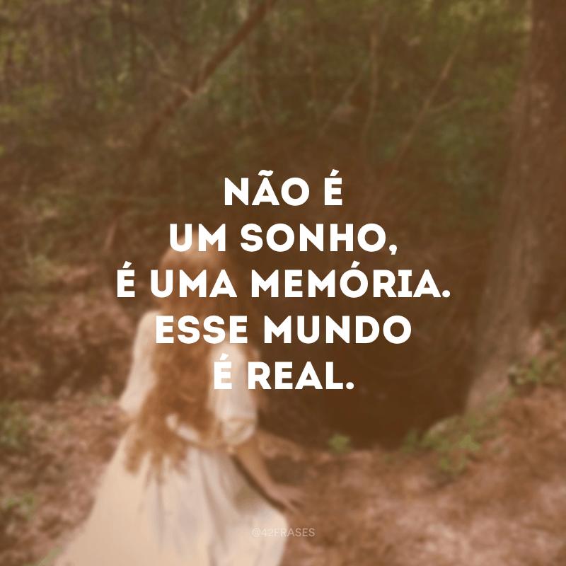 Não é um sonho, é uma memória. Esse mundo é real.