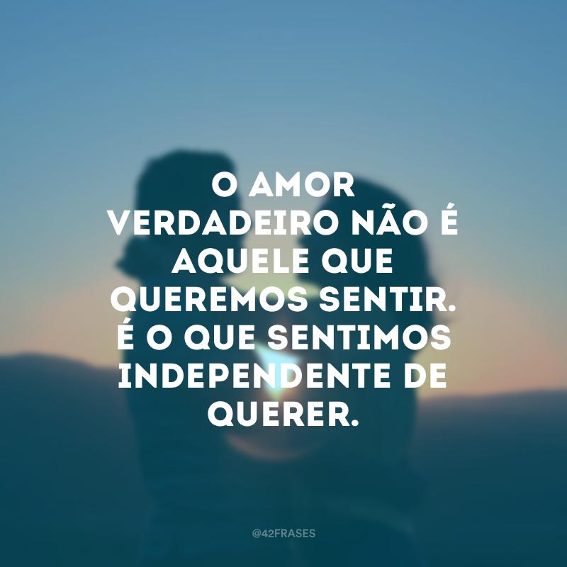 O amor verdadeiro não é aquele que queremos sentir. É o que sentimos independente de querer.