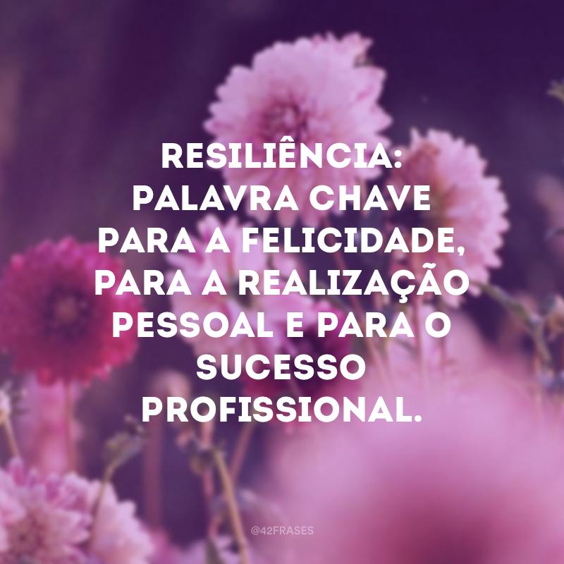 Resiliência: palavra chave para a felicidade, para a realização pessoal e para o sucesso profissional.