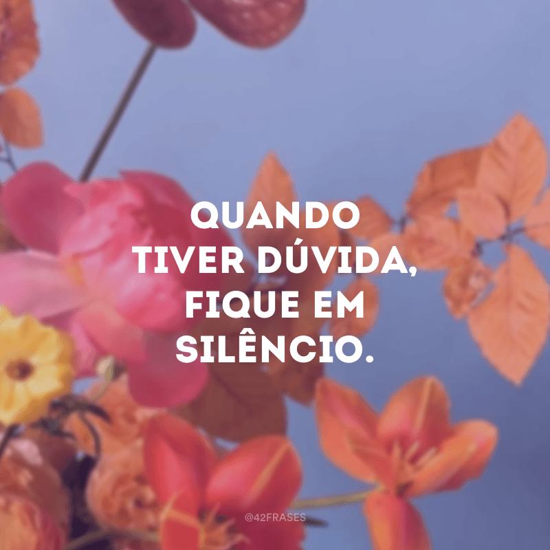 Quando tiver dúvida, fique em silêncio.