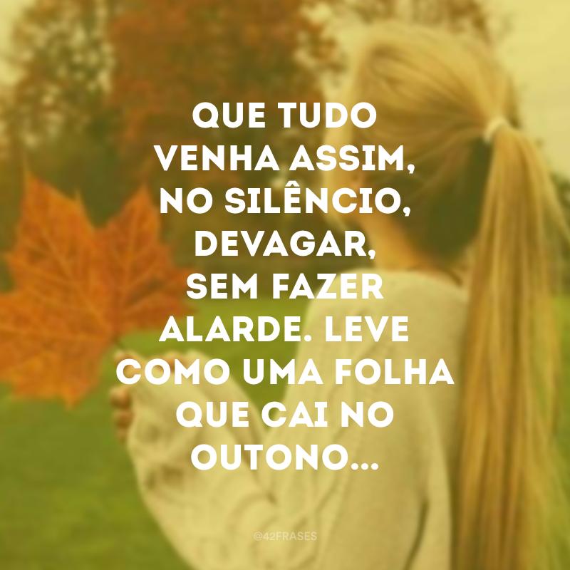Que tudo venha assim, no silêncio, devagar, sem fazer alarde. Leve como uma folha que cai no outono...