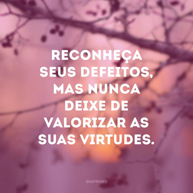 Reconheça seus defeitos, mas nunca deixe de valorizar as suas virtudes.