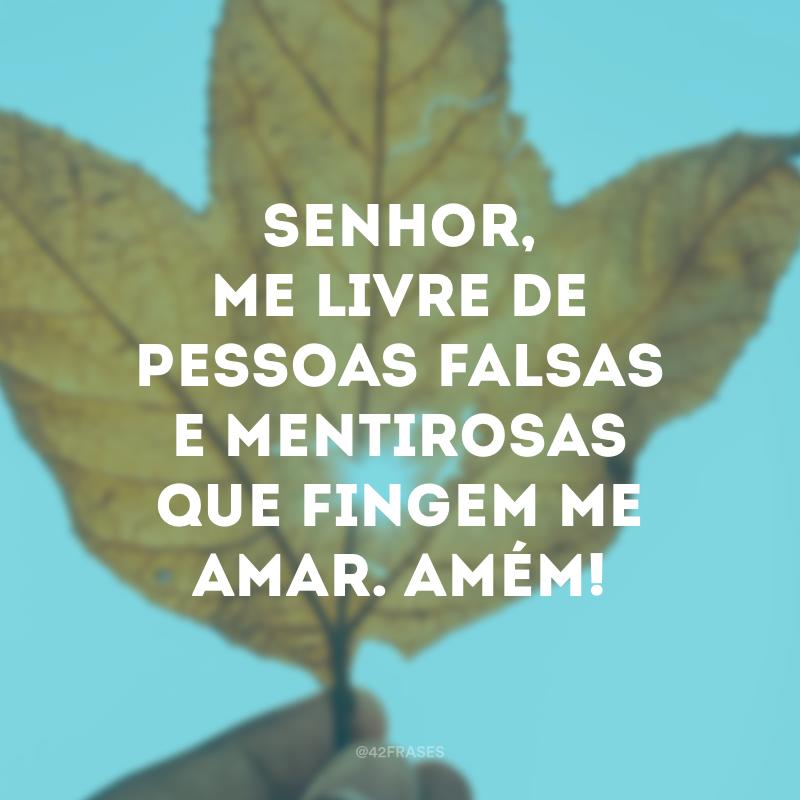 Senhor, me livre de pessoas falsas e mentirosas que fingem me amar. Amém!