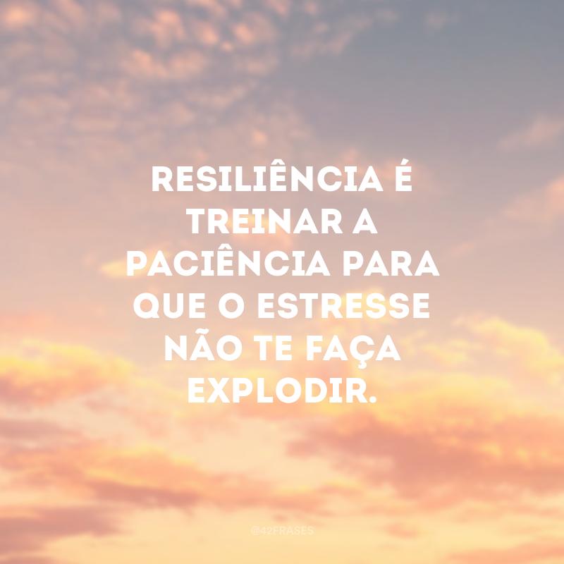 Resiliência é treinar a paciência para que o estresse não te faça explodir.