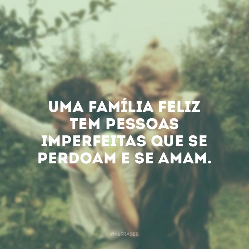 Uma família feliz tem pessoas imperfeitas que se perdoam e se amam.