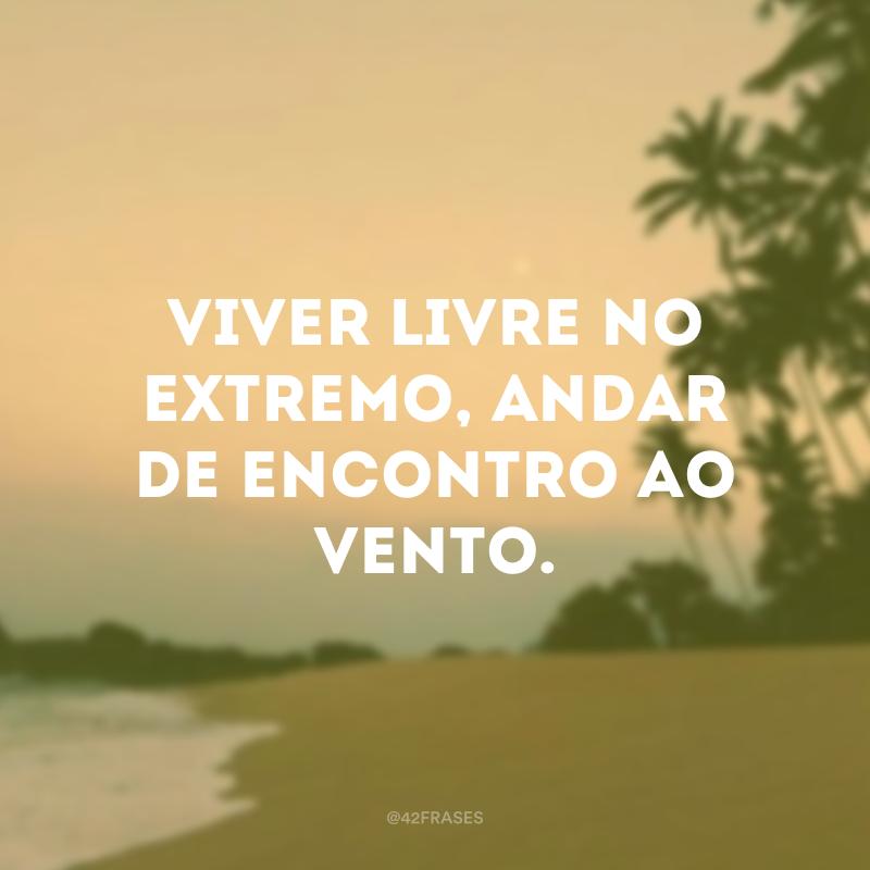 Viver livre no extremo, andar de encontro ao vento.