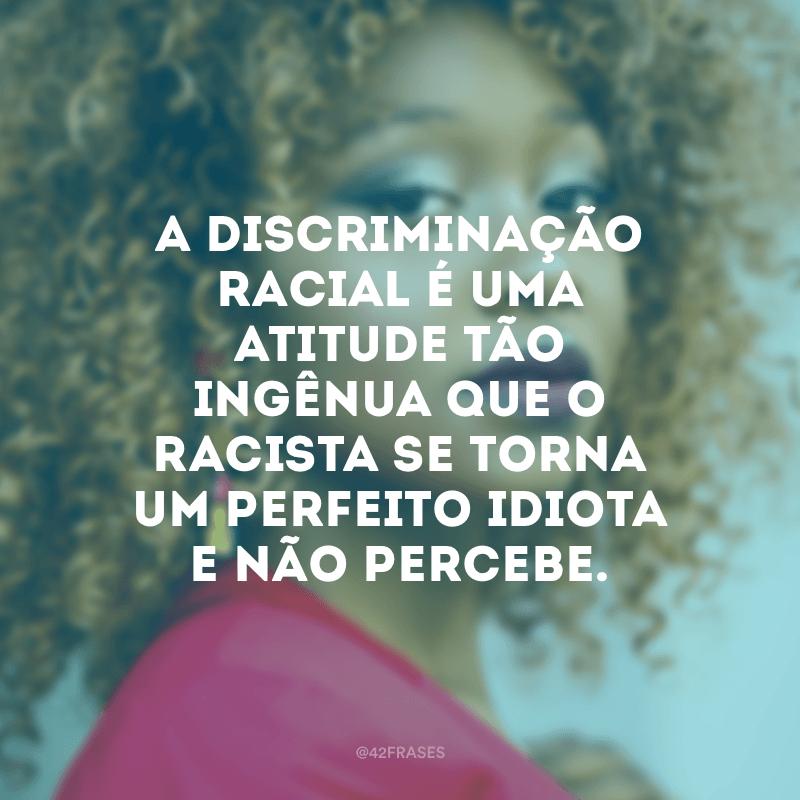 A discriminação racial é uma atitude tão ingênua que o racista se torna um perfeito idiota e não percebe.