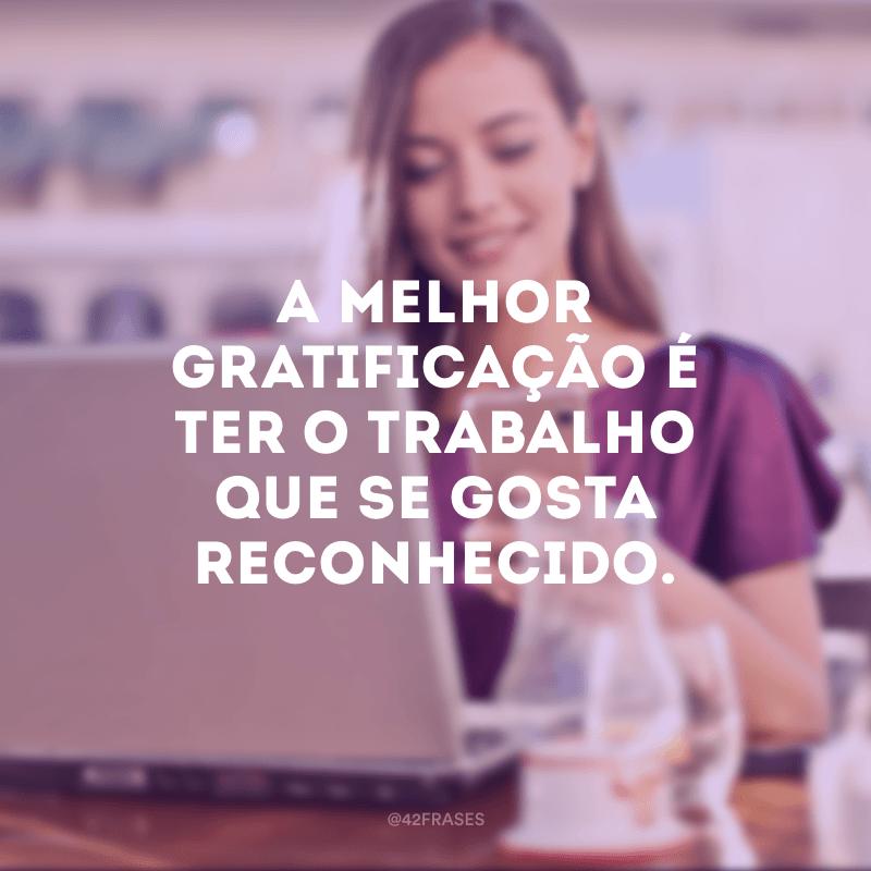 A melhor gratificação é ter o trabalho que se gosta reconhecido.