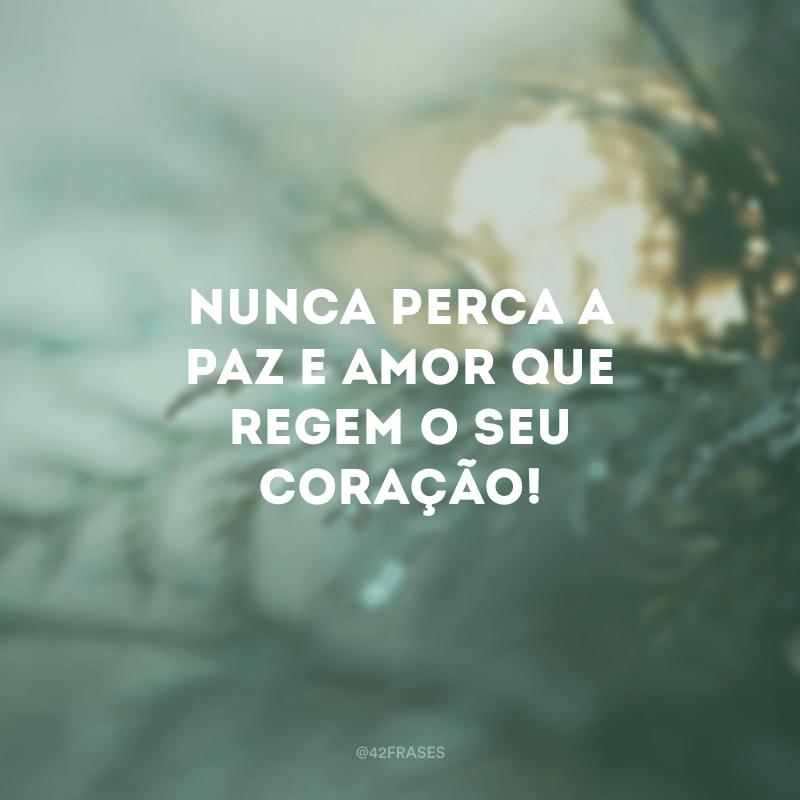 Nunca perca a paz e amor que regem o seu coração!