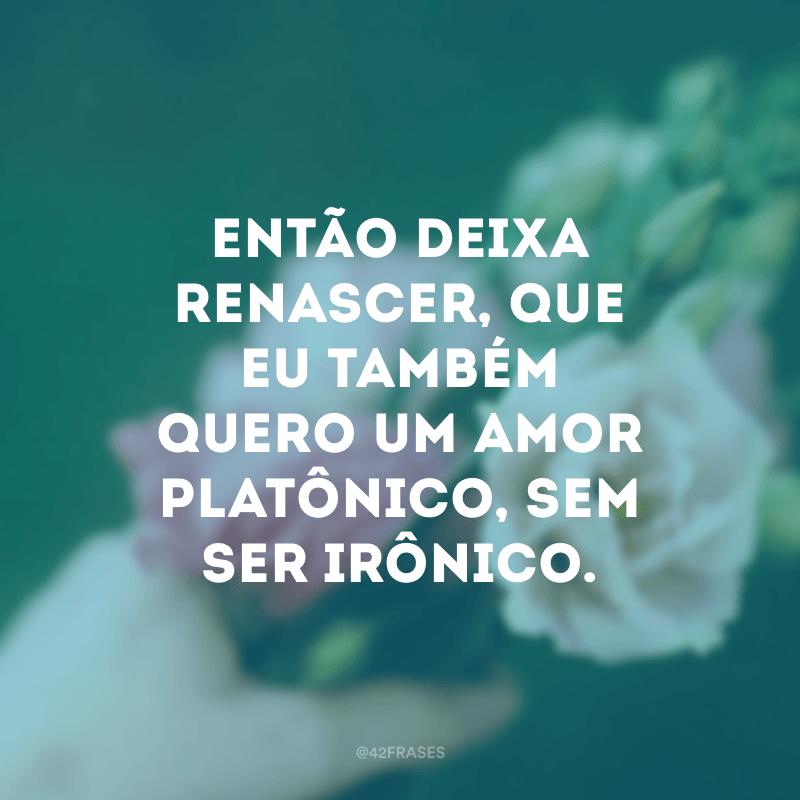 Então deixa renascer, que eu também quero um amor platônico, sem ser irônico.