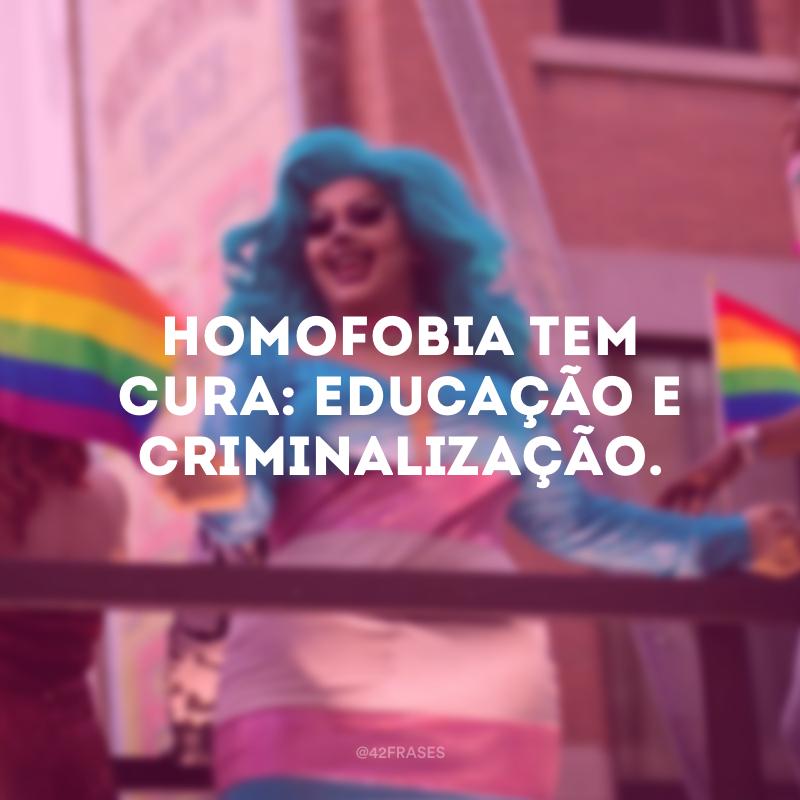 Homofobia tem cura: educação e criminalização.