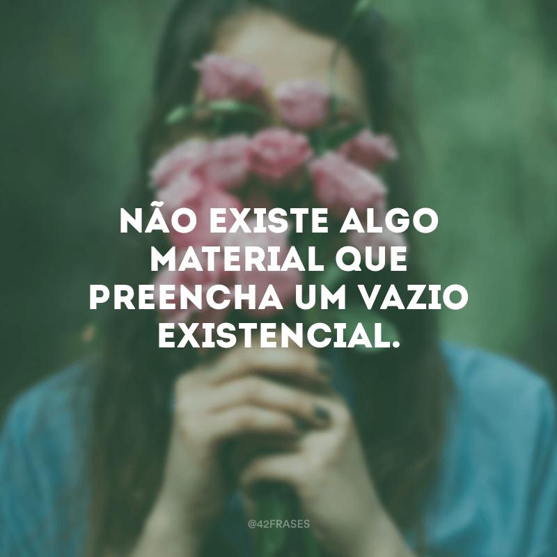 Não existe algo material que preencha um vazio existencial.
