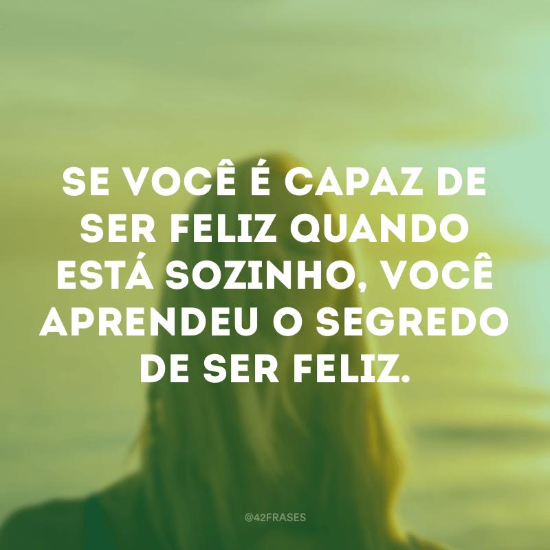 Se você é capaz de ser feliz quando está sozinho, você aprendeu o segredo de ser feliz.
