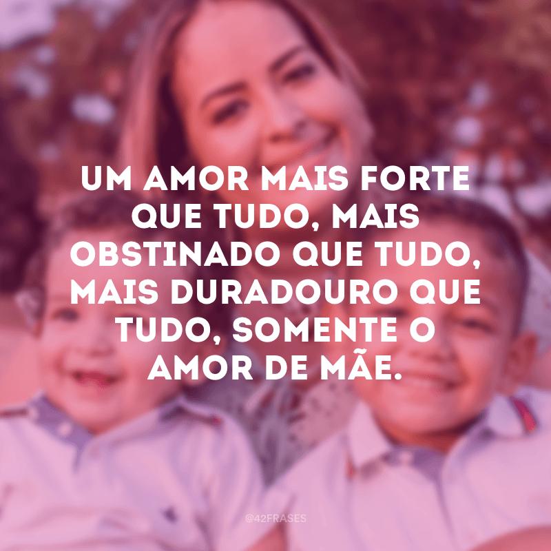 Um amor mais forte que tudo, mais obstinado que tudo, mais duradouro que tudo, somente o amor de mãe.