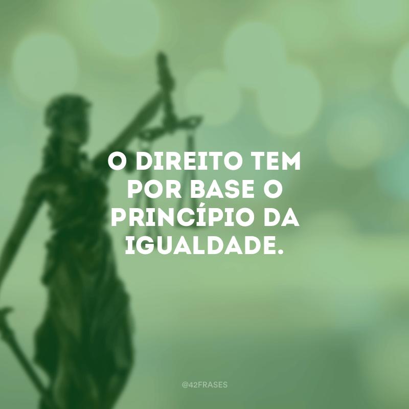 O Direito tem por base o princípio da igualdade.