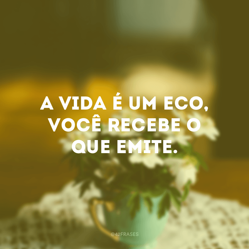 A vida é um eco, você recebe o que emite.