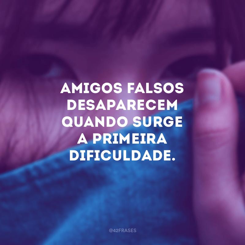 Amigos falsos desaparecem quando surge a primeira dificuldade.