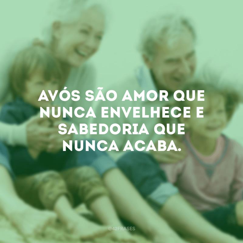Avós são amor que nunca envelhece e sabedoria que nunca acaba.