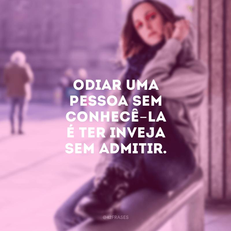 Odiar uma pessoa sem conhecê-la é ter inveja sem admitir.