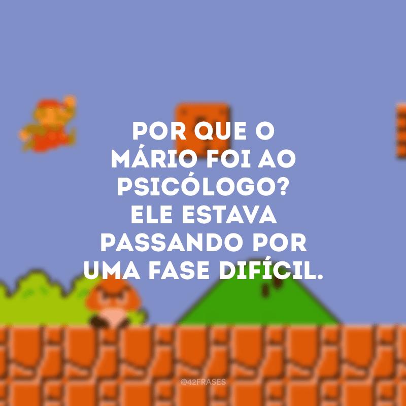 Por que o Mário foi ao psicólogo? Ele estava passando por uma fase difícil.