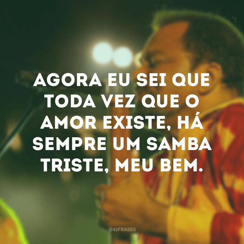 Agora eu sei que toda vez que o amor existe, há sempre um samba triste, meu bem.