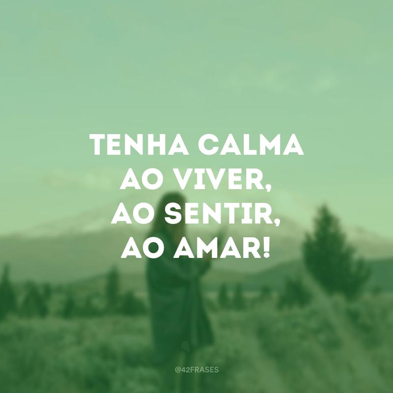 Tenha calma ao viver, ao sentir, ao amar!