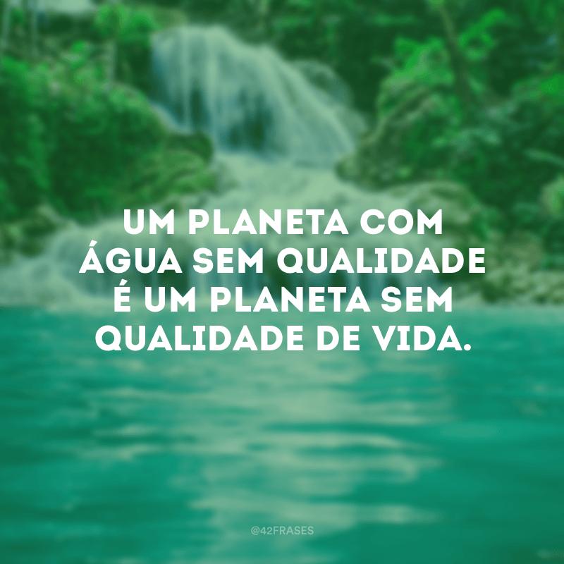 Um planeta com água sem qualidade é um planeta sem qualidade de vida.